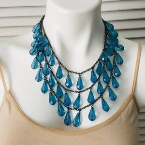 Statement Necklace 3 Stranded Lge Blue Glass Beads